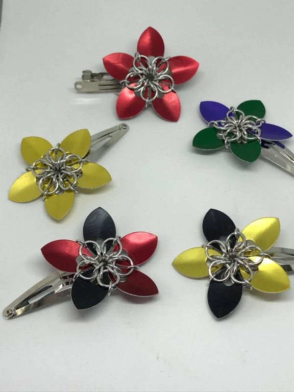 chainmaille flower hair clips